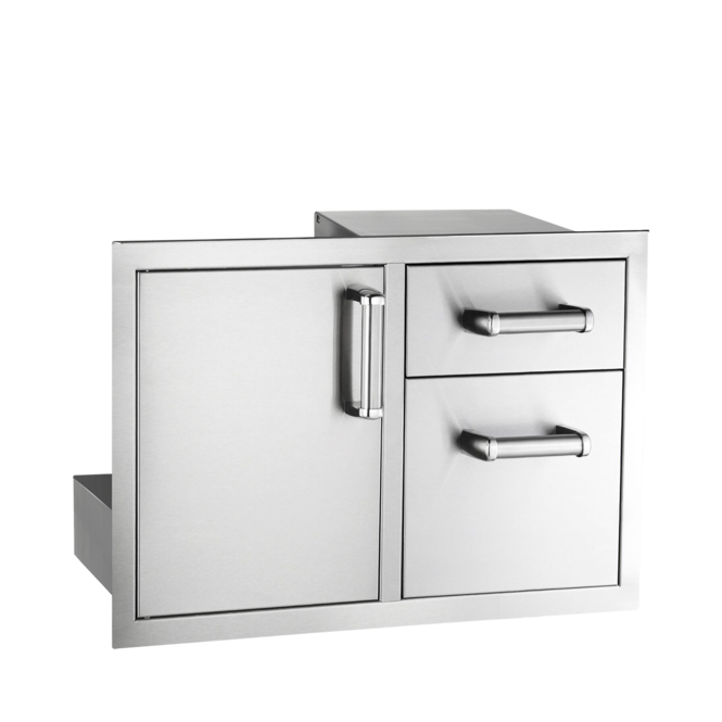 Photo de Ensemble porte et tiroir double Fire Magic Flush Mounted