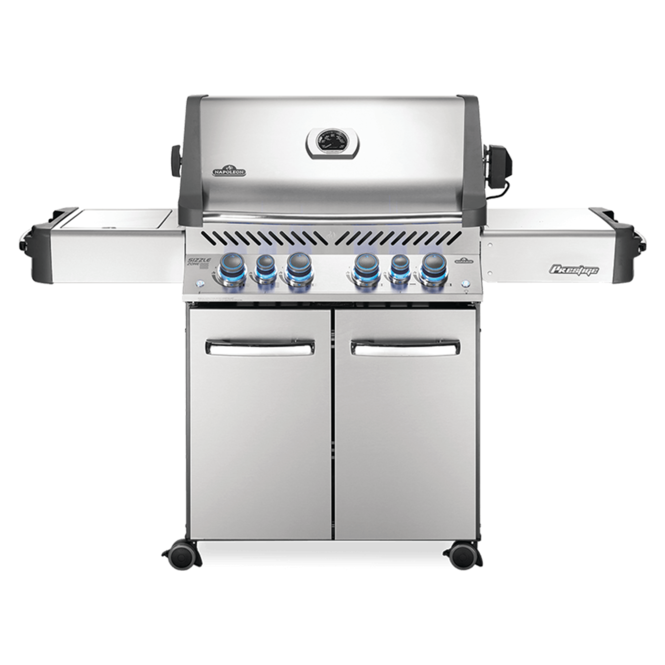 Photo de BBQ Napoleon Prestige 500 Gaz Naturel - Infrarouge lateral + Bruleur arriere - Acier inoxydable